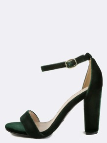 Smooth Velvet Open Toe Heels GREEN