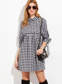 Black And White Gingham Tie Sleeve Babydoll Dress