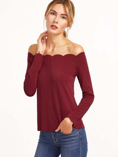 Off The Shoulder Scallop Top