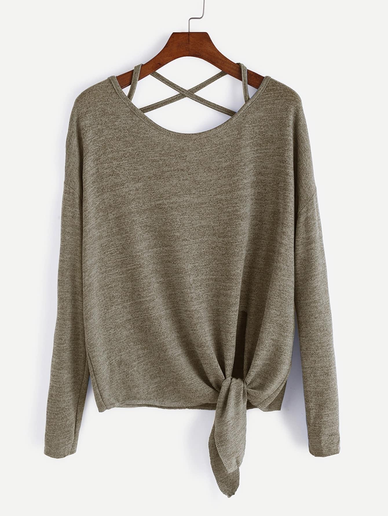 Drop Shoulder Criss Cross Tie Front T-Shirt bow tie front drop shoulder sweatshirt