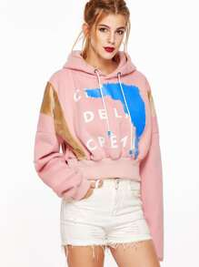 Pink Printed Hooded Drop Shoulder Contrast Velvet Crop Sweatshirt