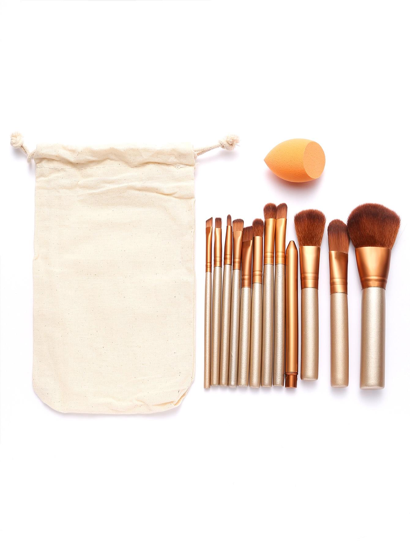 Image of 12Pcs Gold Professional Makeup Brush Set with Canvas Bag