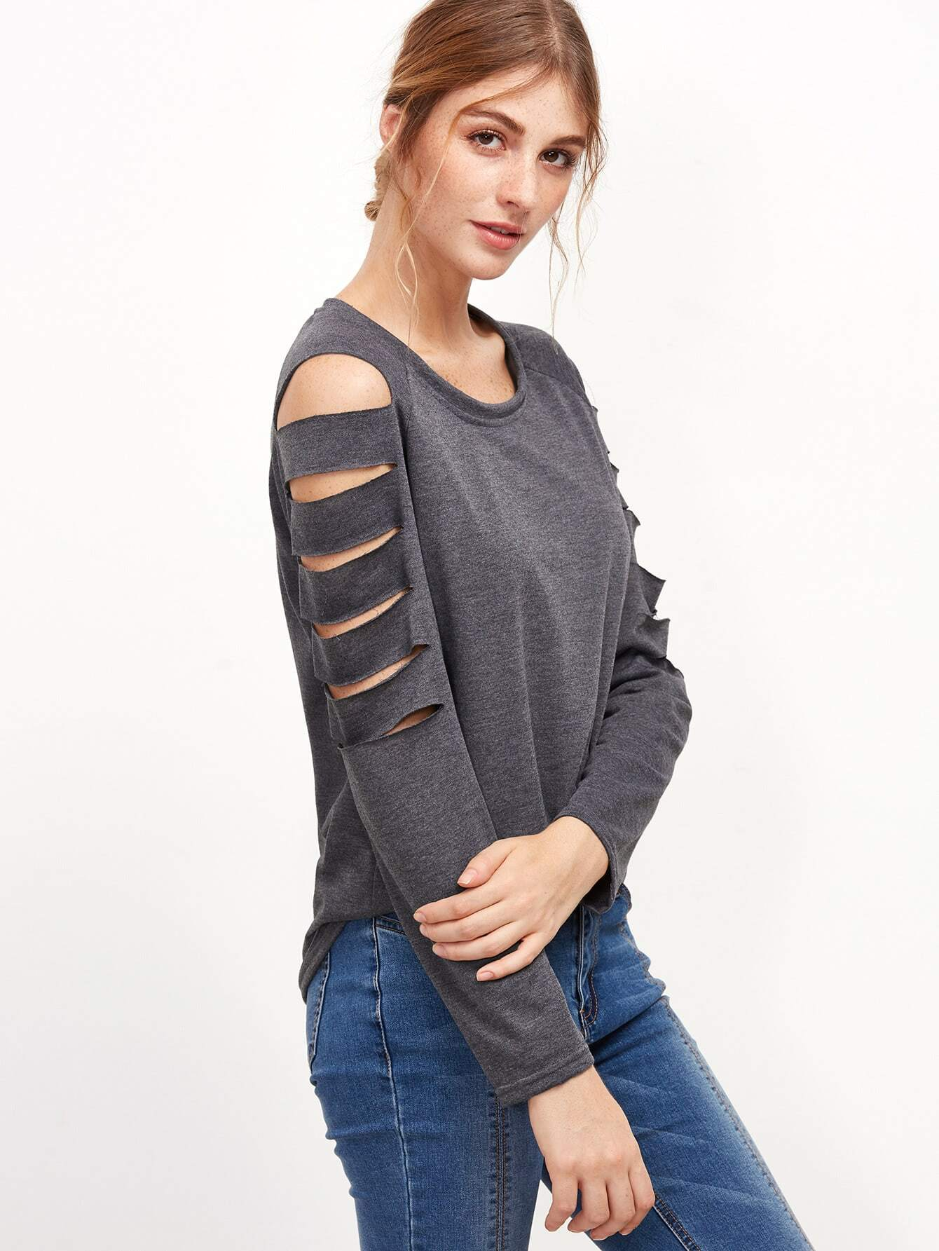 Ladder cut out sleeve t shirt shein sheinside for How to cut sleeves off a shirt