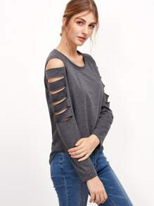 Ladder Cut Out Sleeve T-shirt