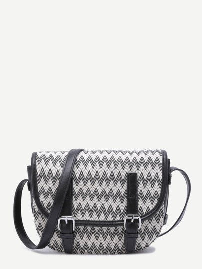 Black Chevron Woven PU Satchel Bag