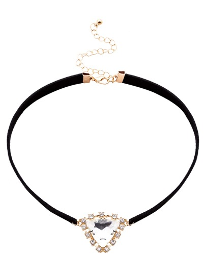 Black Band Triangle Crystal Pendant Choker Necklace