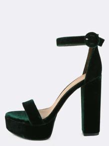 Open Toe Velvet Platform Heels GREEN