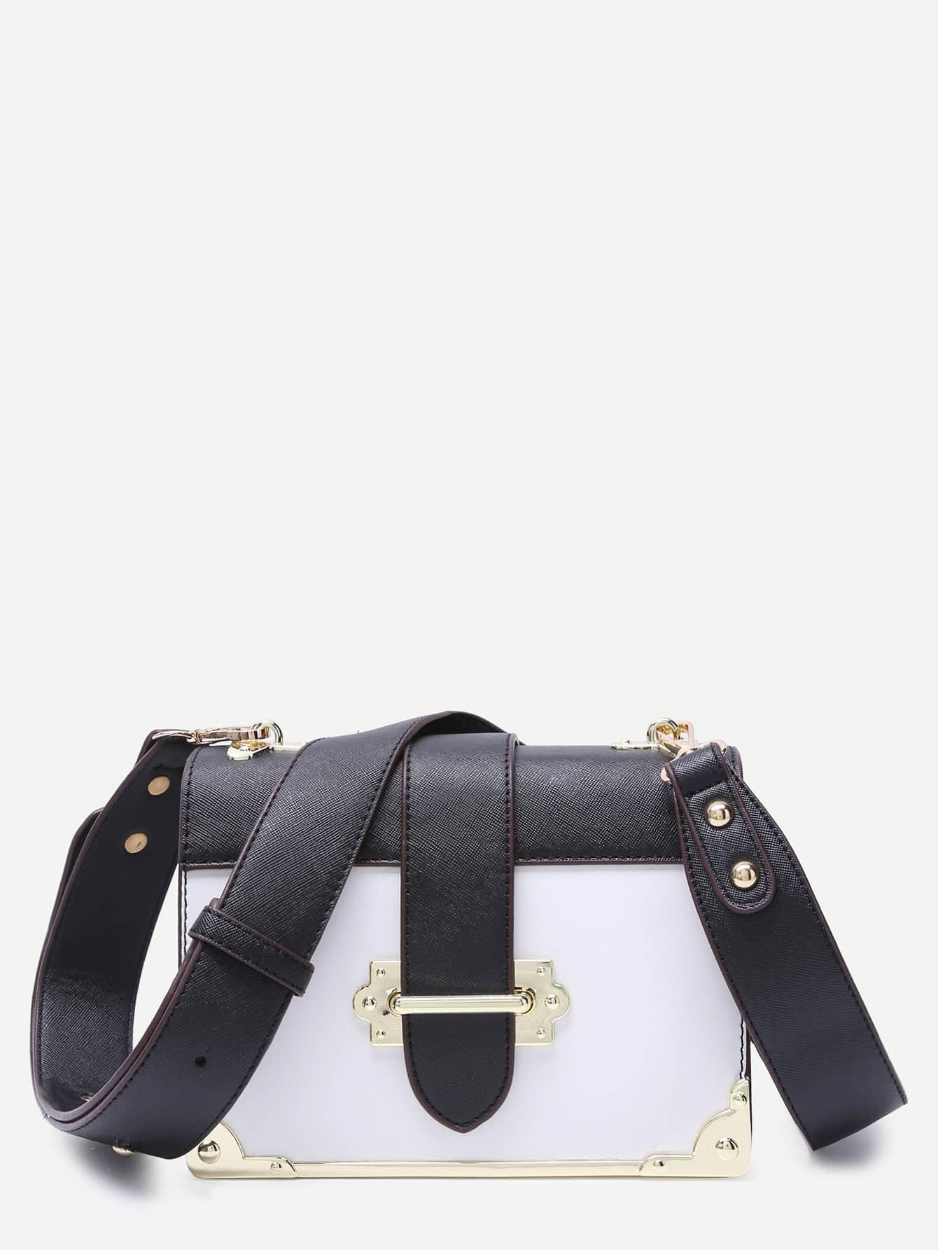 White Contrast Metallic Trim Boxy PU Shoulder BagWhite Contrast Metallic Trim Boxy PU Shoulder Bag<br><br>color: White<br>size: None