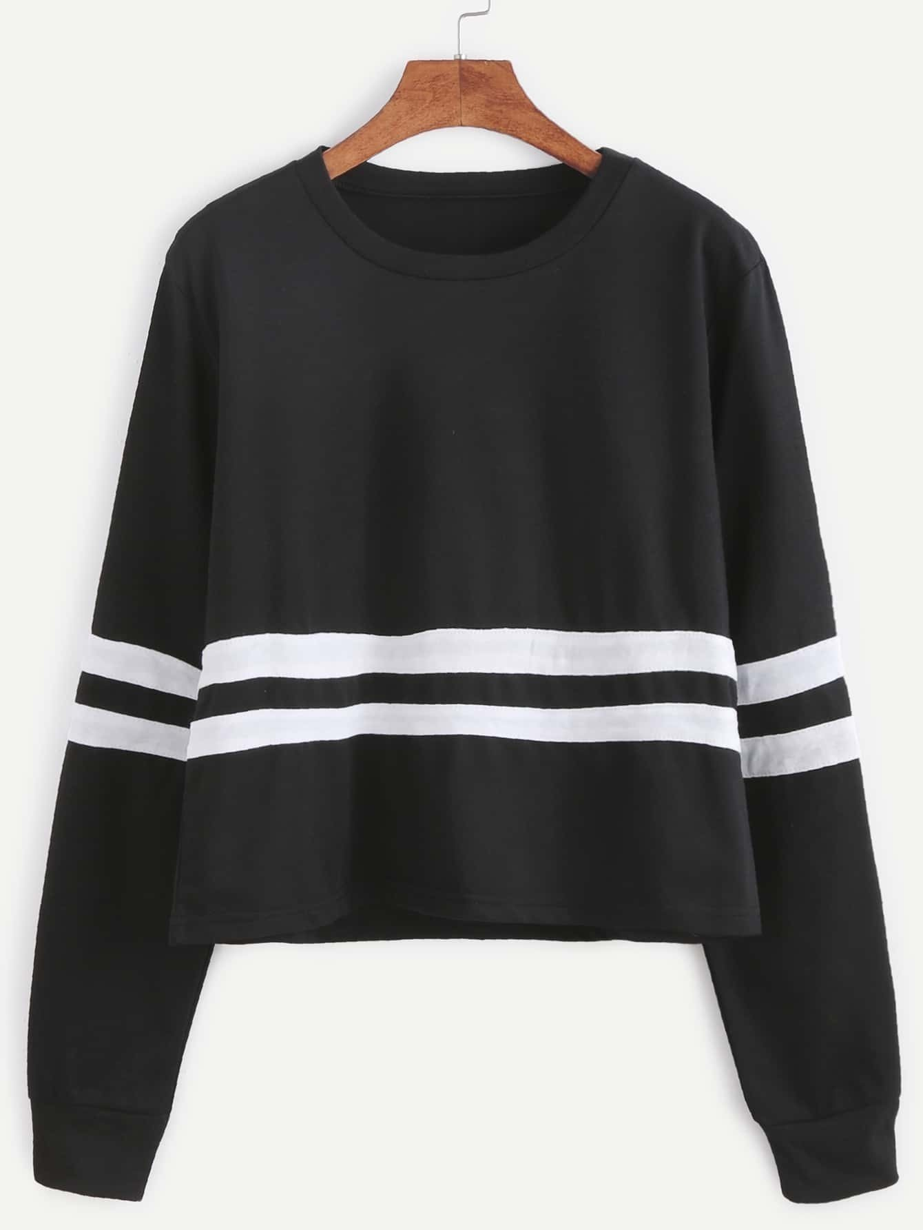 Black Striped Trim Sweatshirt sweatershirt161101101
