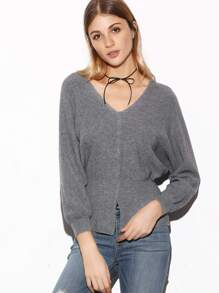 Grey Double V Neck Batwing Sleeve Slit Front Sweater