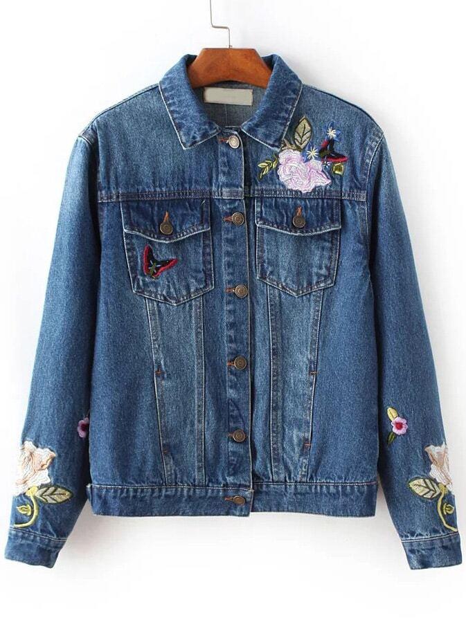 Blue Floral Embroidery Denim Jacket -SheIn(Sheinside)