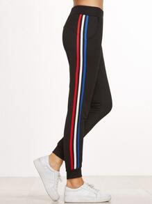 Black Striped Side Elastic Waist Beam Port Pants