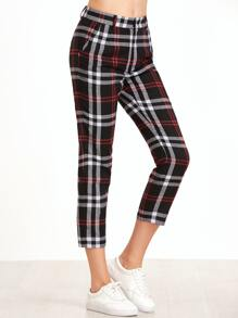 Black Plaid Crop Tapered Pants