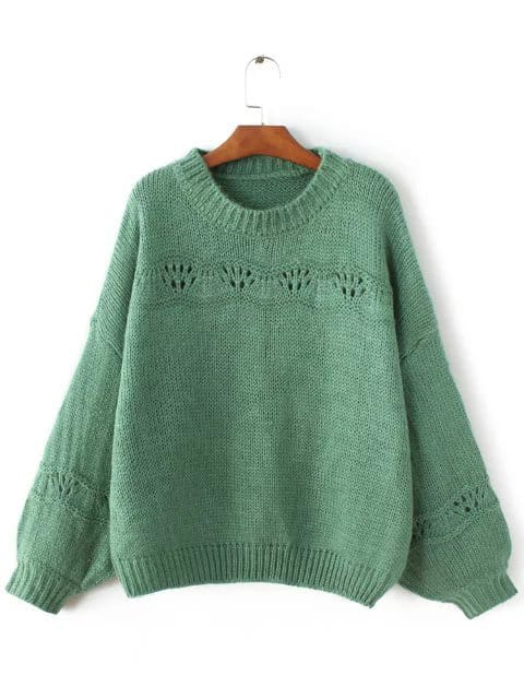 Green Ribbed Trim Lantern Sleeve Sweater sweater161110208