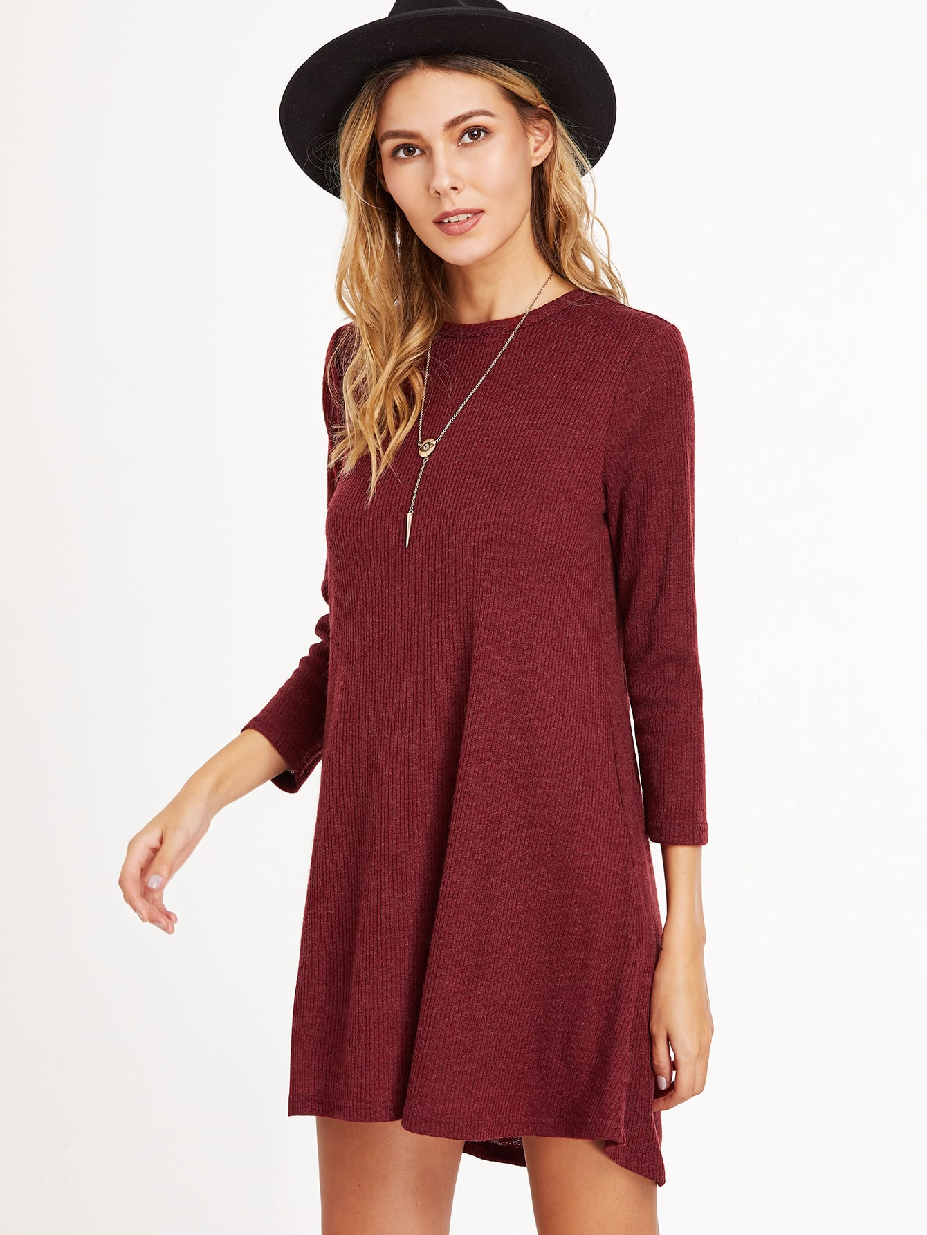 Burgundy Ribbed Knit A Line Dress dress161111718