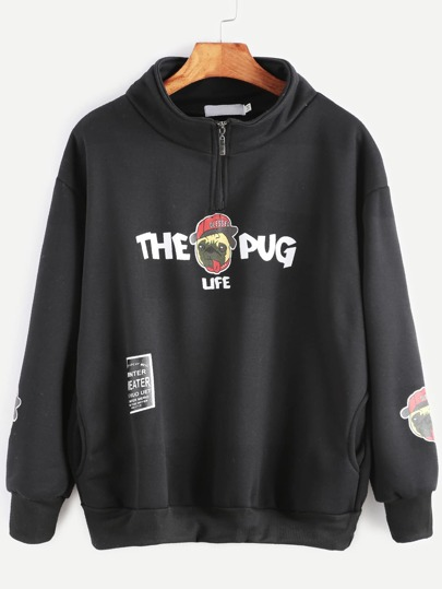 Black Pug Print Zip Detail Pockets Sweatshirt