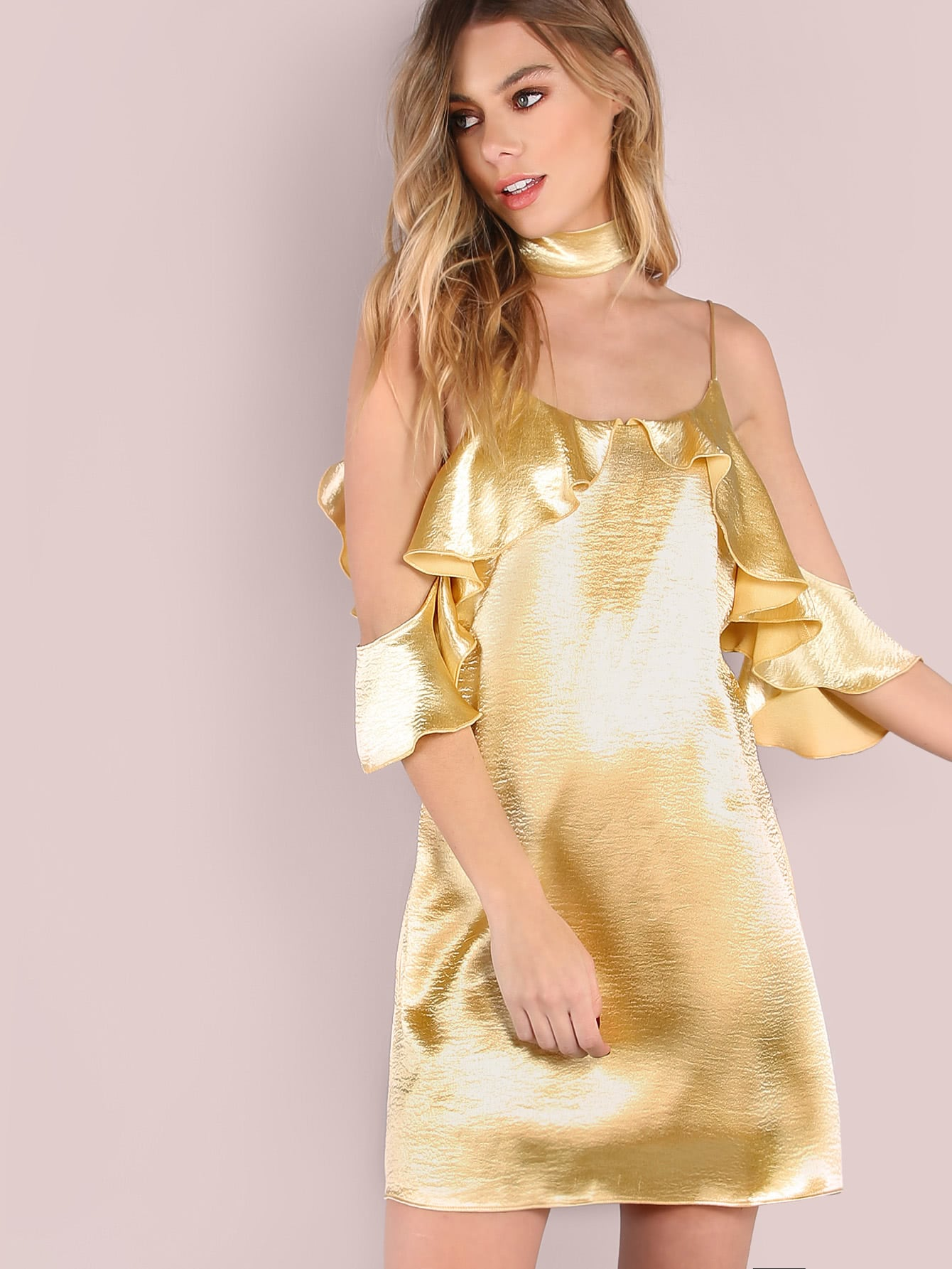 Фото Yellow V Back Ruffle Cold Shoulder Dress With Neck Tie. Купить с доставкой