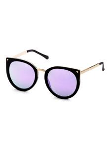 Gafas de sol estilo ojos de gato y ribete metálico - negro