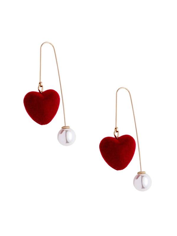 Burgundy Heart Faux Pearl Personalized Drop Earrings, null