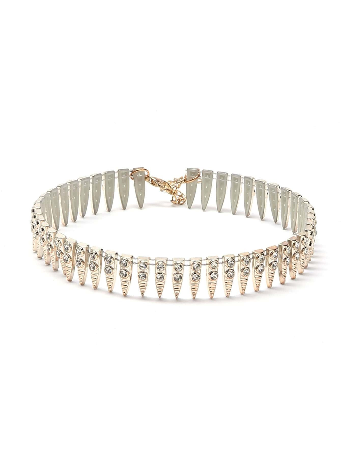 Фото Metal Spike Rhinestone Studded Statement Choker Necklace. Купить с доставкой