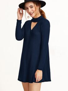 Navy Mock Neck Cut Out Ribbed Dress