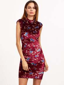 Burgundy Floral Print Mock Neck Cap Sleeve Bodycon Dress
