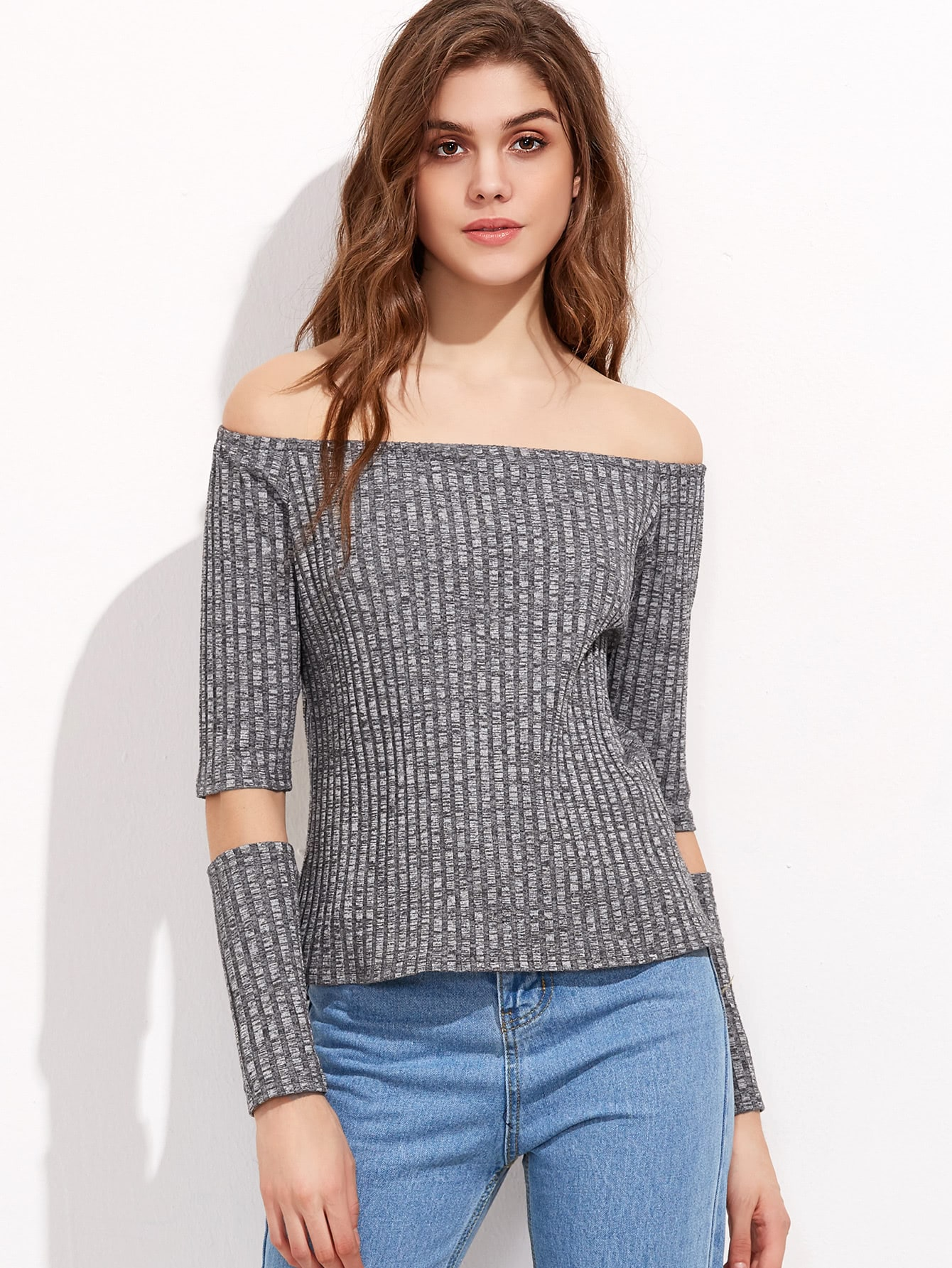 Grey Marled Off The Shoulder Ribbed T-shirt With Detachable Sleeve tee161130703