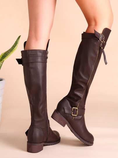Coffee PU Buckled Strap Side Zipper Knee Boots