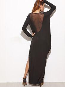 Black Mesh Back Side Drape Slit Maxi Dress