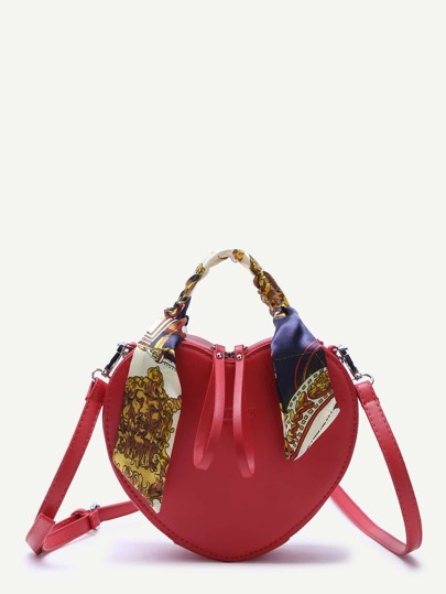 Red Heart Shaped Zip Closure PU Shoulder Bag