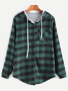 Green Check Plaid Pocket Blouse With Contrast Lining Hood