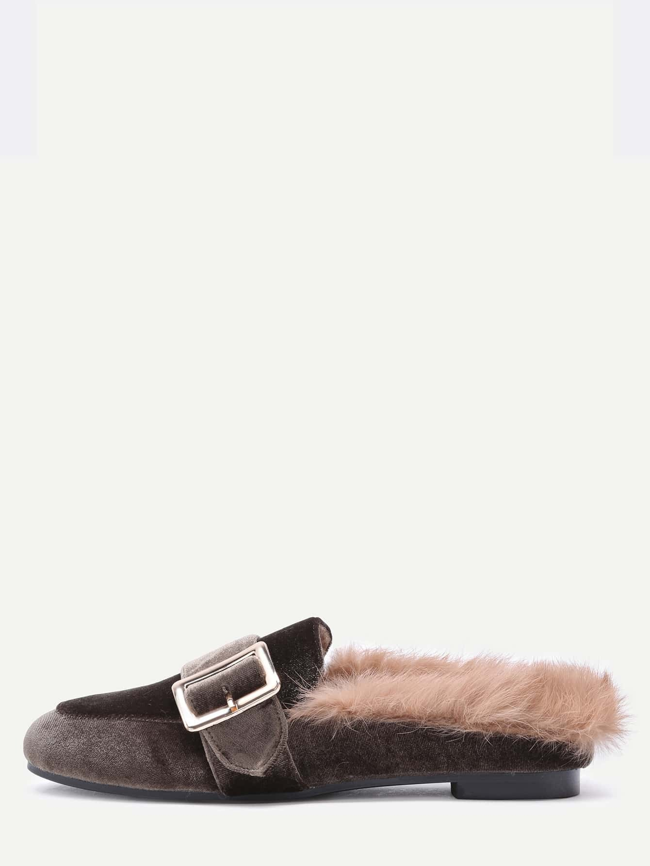 Brown Velvet Buckled Faux Fur Embellished Flats