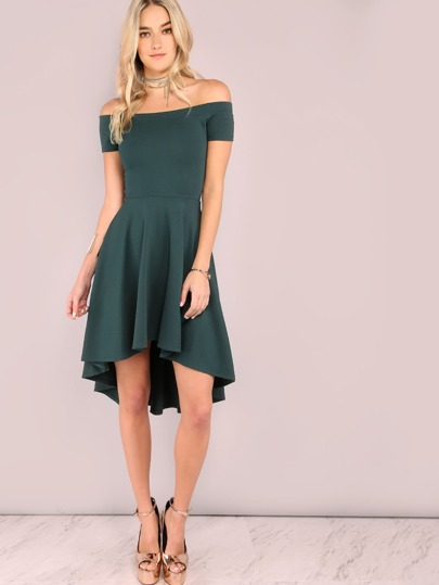 Off Shoulder High Low Flare Dress