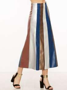 Falda de cuero sintético de color combinado