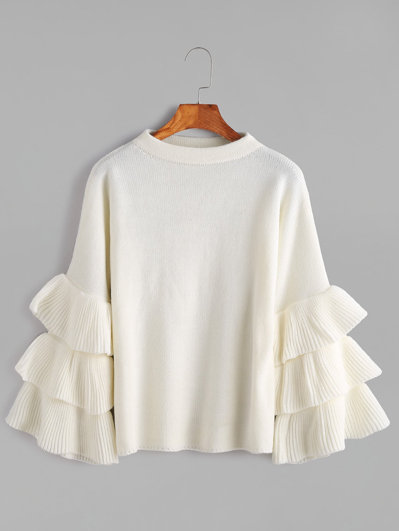 White Layered Ruffle Sleeve Pullover Sweater pearl detail layered frill sleeve top