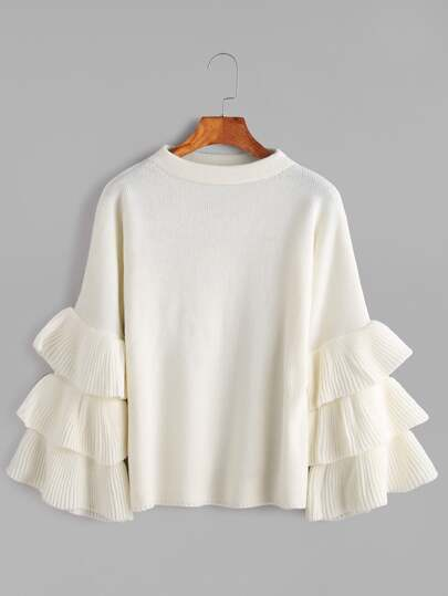 White Layered Ruffle Sleeve Pullover Sweater