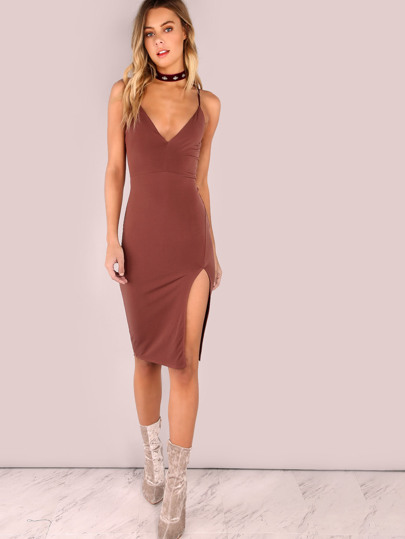 V Neckline Low Back Slit Side Dress