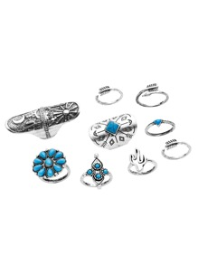 Antique Silver Turquoise Carved Multi Shape Ring Set