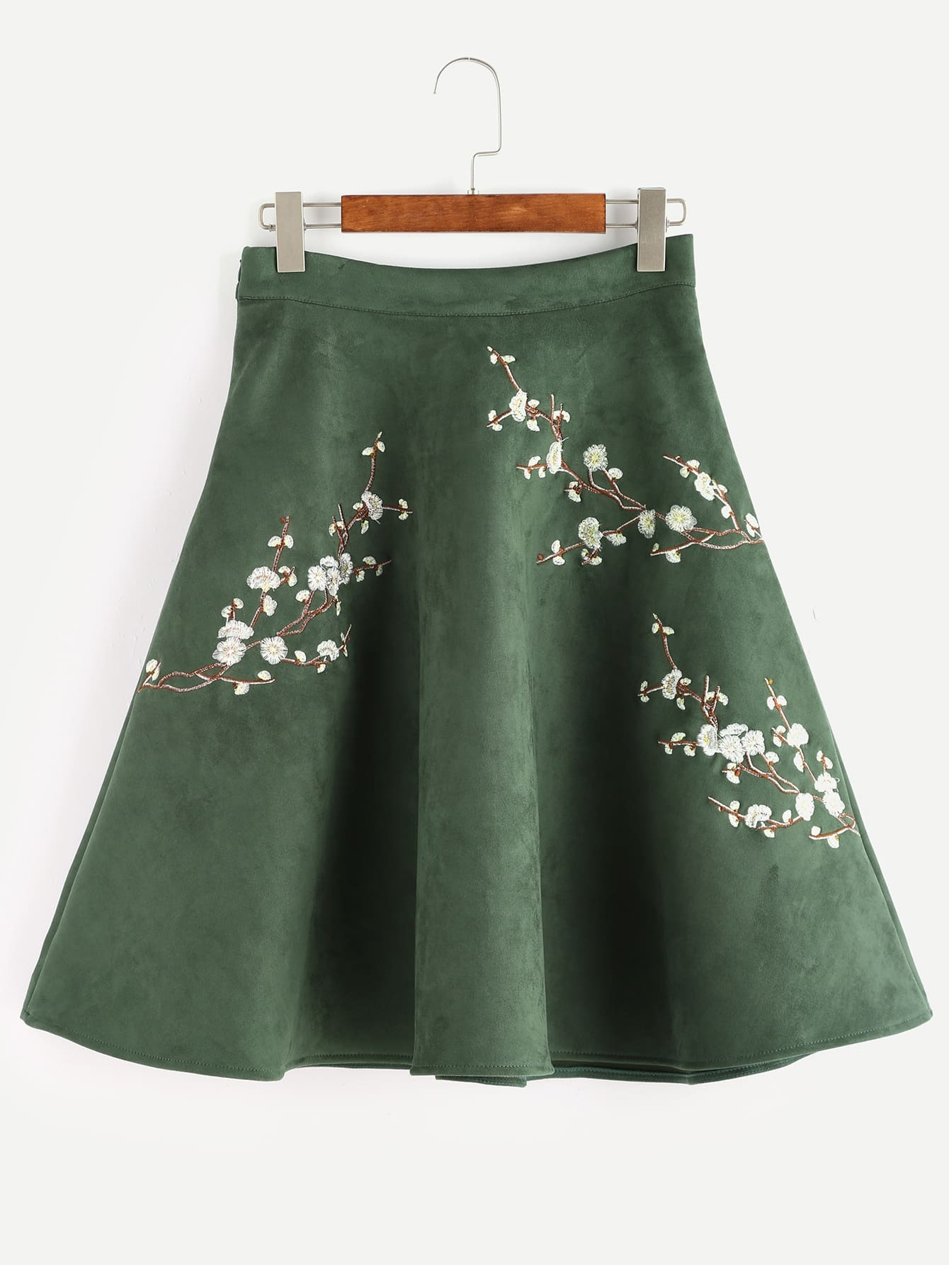 Army Green Flower Embroidered Suede A-Line Skirt -SheIn(Sheinside)
