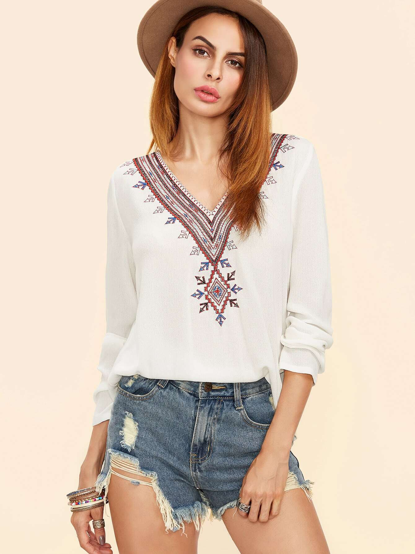 V Neckline Embroidered Top