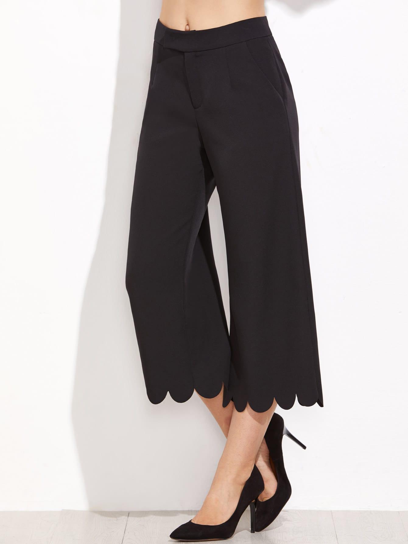 Scalloped Hem Crop Wide Leg Pants lisa corti короткое платье