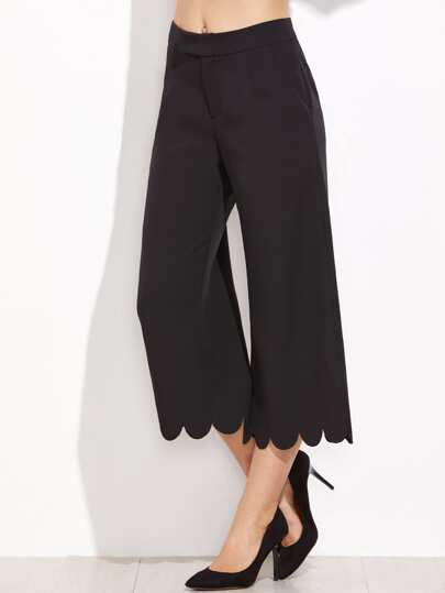 Scalloped Hem Crop Wide Leg Pants