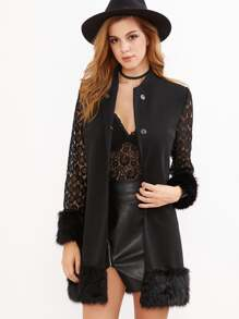 Sheer Lace Panel Sleeve Faux Fur Trim Coat