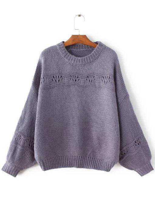 Purple Ribbed Trim Lantern Sleeve Sweater