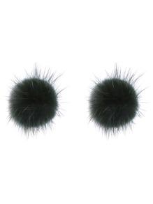 Apple Green Fuzzy Pom Pom Stud Earrings