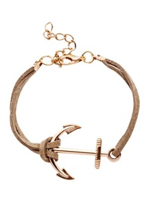 Coffee Double Layer Anchor Charm Bracelet