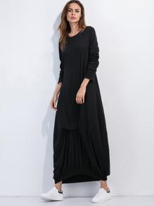 Vestido ribete elástico holgado - negro