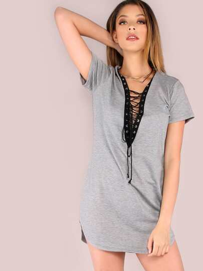 Plunge Lace Up Curved Hem Dress HEATHER GREY