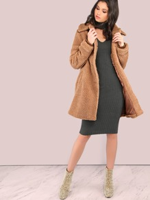 Furry Knit Button Down Coat CAMEL