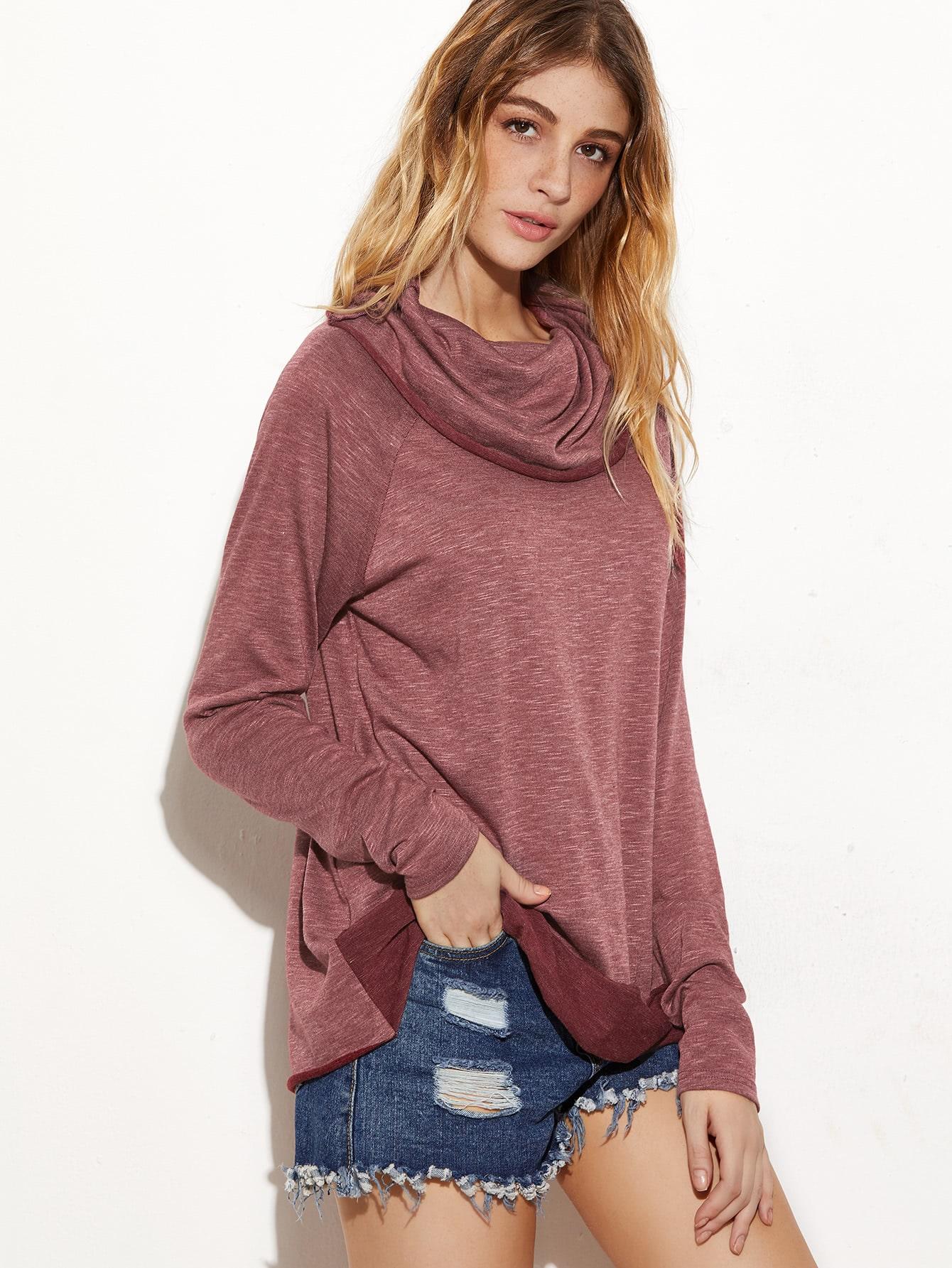Burgundy Marled Cowl Neck Raglan Sleeve T-shirt studio m new burgundy red marled women s size large l boat neck sweater $98